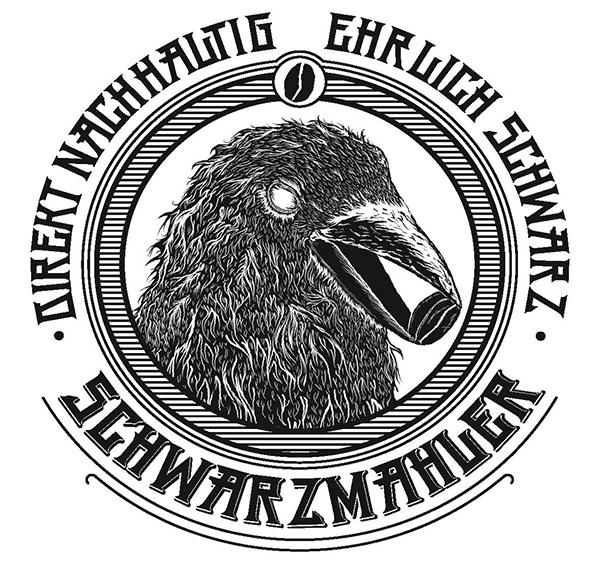 Das Logo von Schwarzmahler (Kaffeebohnen)